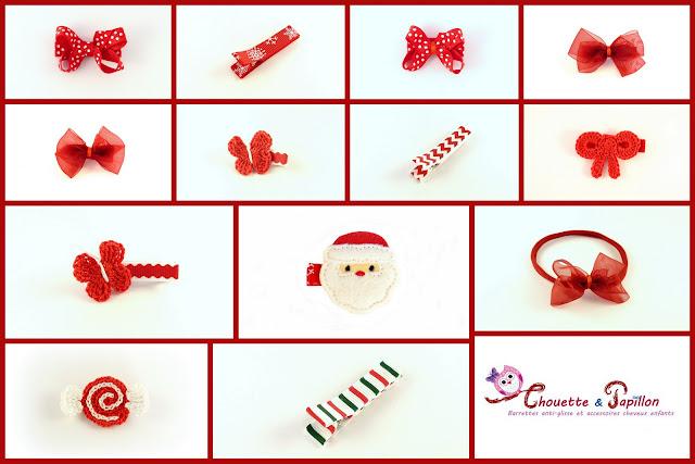 barrettes bébé et barrettes enfants - Des barrettes noël aux couleurs rouge et blanc