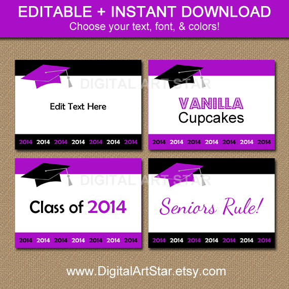 Printable editable purple and black diy graduation food labels