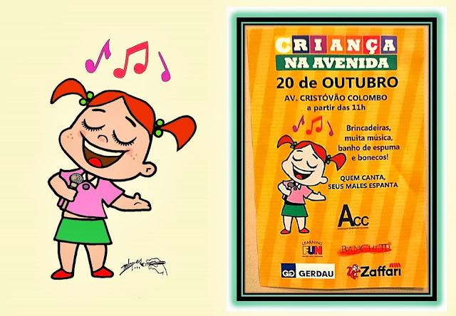 Criança na Avenida - Cantora é uma ilustração criada pelo Desenhista Marcelo Lopes de Lopes