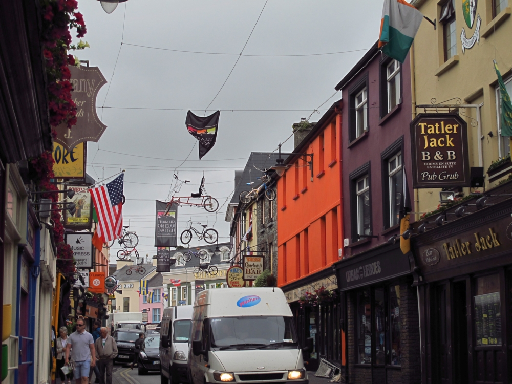 Bicycles in the air in a street in Killarney, Ireland photo by susan wellington