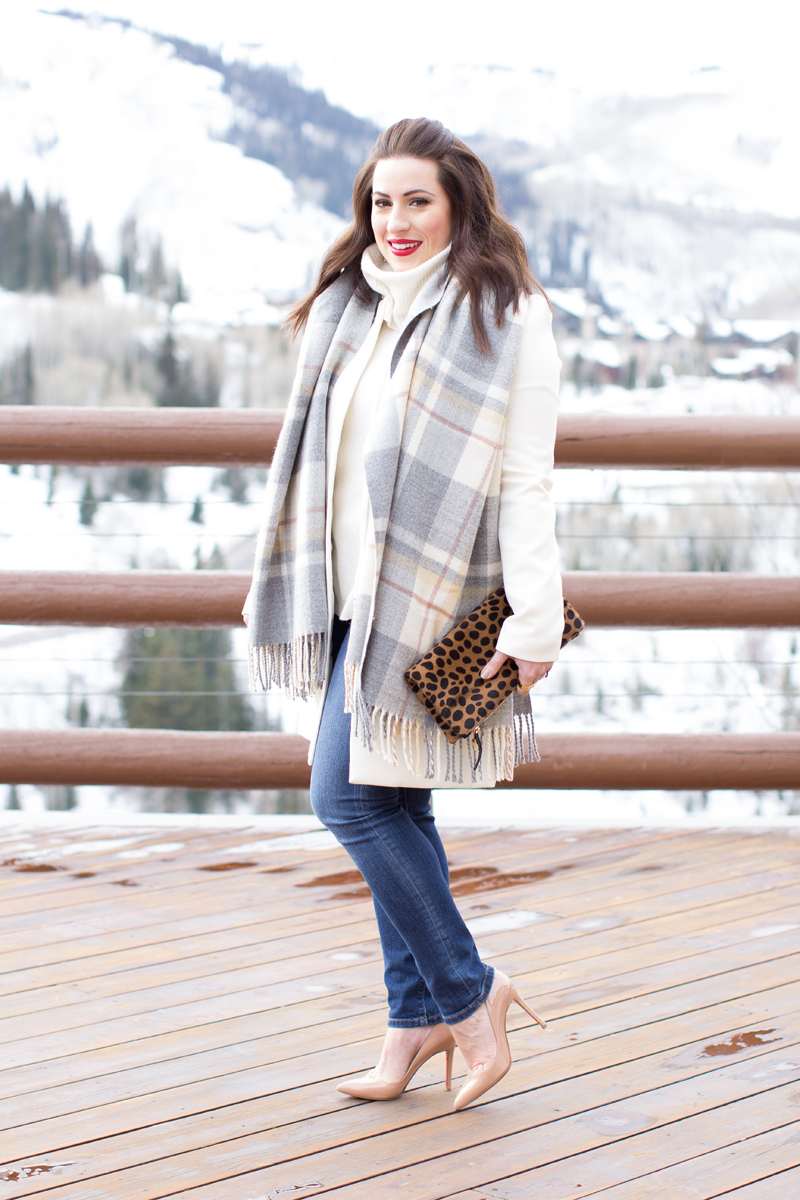 winter whites, leopard clare v. clutch, park city, plaid blanket scarf