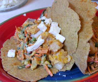 tortilla chip crusted fish tacos with chili lime yogurt slaw