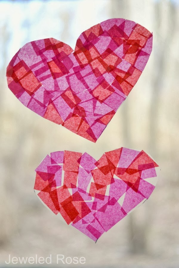 Sticky heart suncatcher craft - fun for kids to make and so pretty!