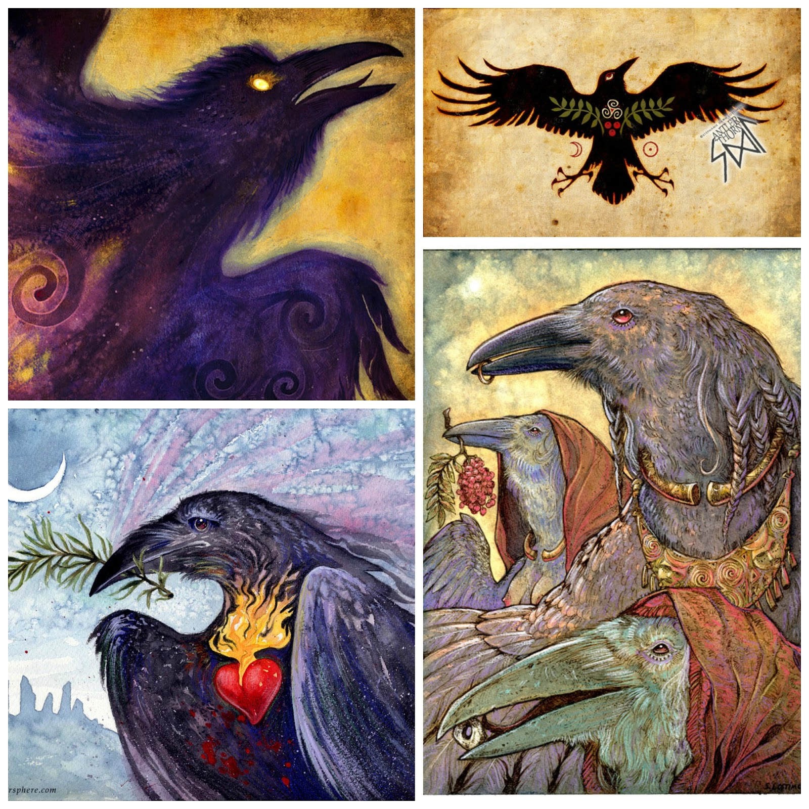 Celtic ravens myth and magic clockwise from top left fire in the belly raven talisman of protection generations and rosemary is for remembrance buycottarizona