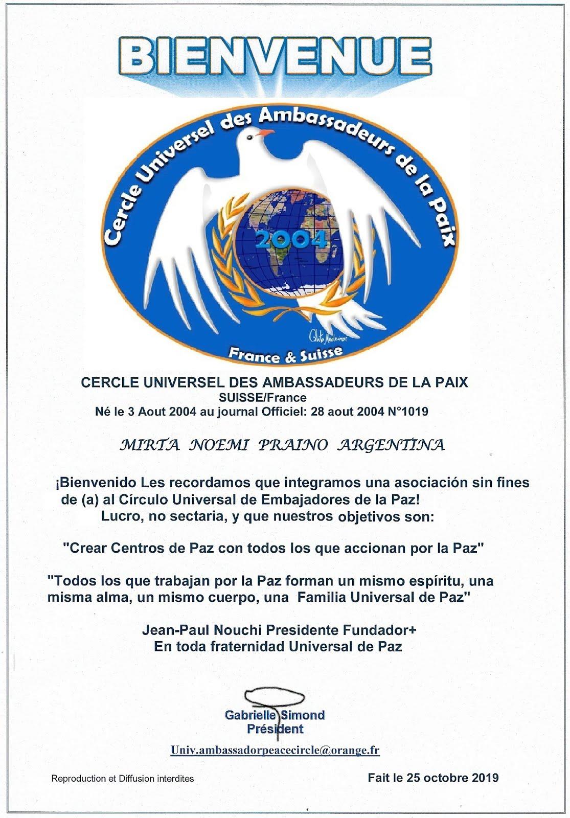 Mirta Praino  Recibe el Titulo de Embajadora Universal de la Paz