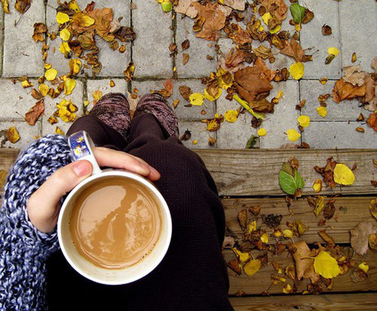 fall leaves and coffee