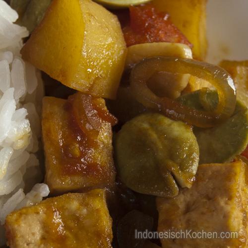 Tumis Tofu mit Peteh Bohnen rezept indonesisch
