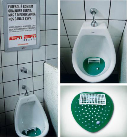 The book review 25 mind blowing guerilla marketing ideas for Interactive bathroom
