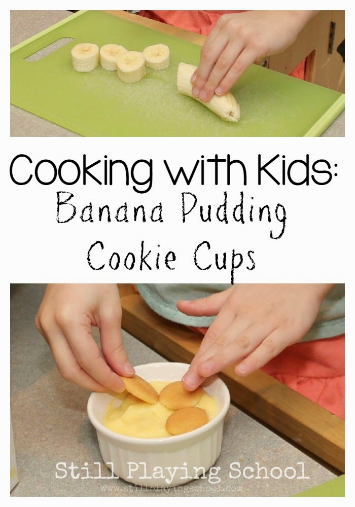 Banana pudding cookie cups still playing school for Halloween cooking ideas for preschool