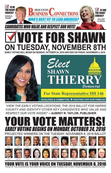 SHAWN THIERRY VALUES OUR VOTE, SUPPORT AND COMMUNITY!