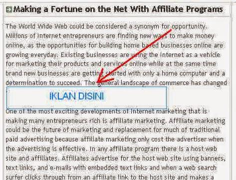 2 Cara Memasang Ads Adsense Berada Ditengah Artikel Postingan Blog