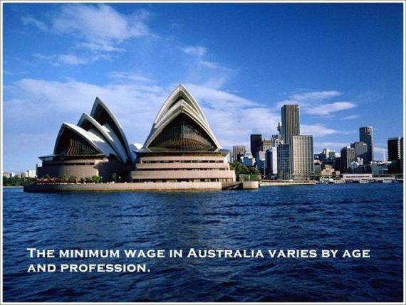 THE MINIMUM WAGE IN AUSTRALIA VARIES BY AGE AND PROFESSION.