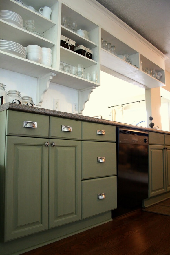 Return to home the two toned kitchen for Green kitchen cabinets