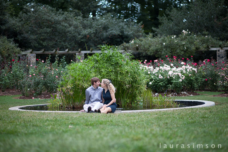 Laura simson photography kyle kate engagement session rose gardens raleigh nc for Gardens in raleigh nc
