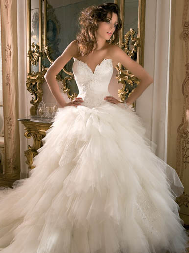 This whimsical wedding dress is from the Demetrios Blue Collection by