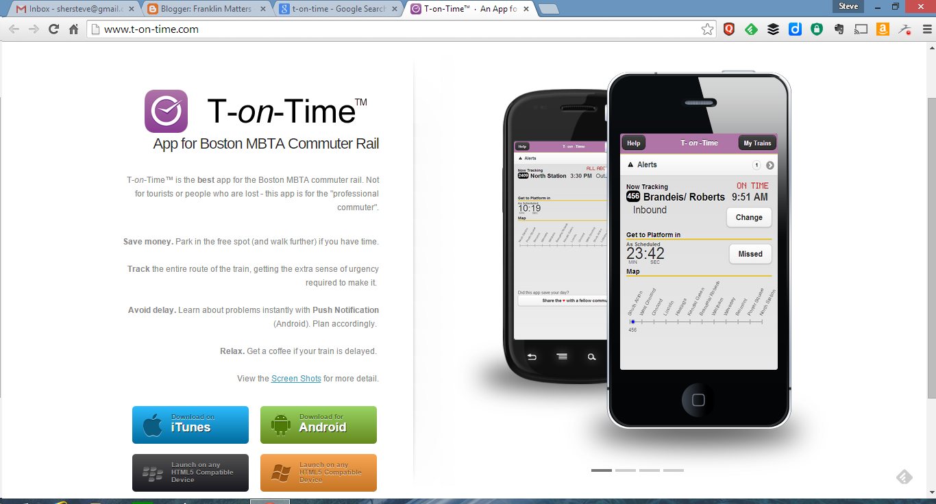 screen grab for T-on-Time app