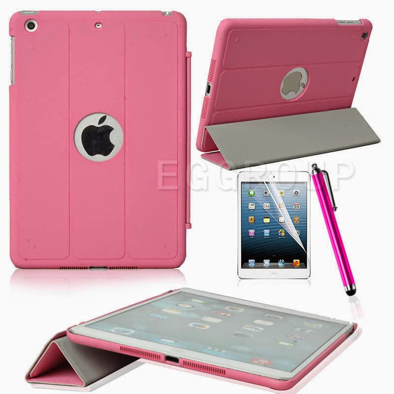 Hot Slim Rubberized Folding PU Leather Smart Cover Case For iPad Mini & Retina 2