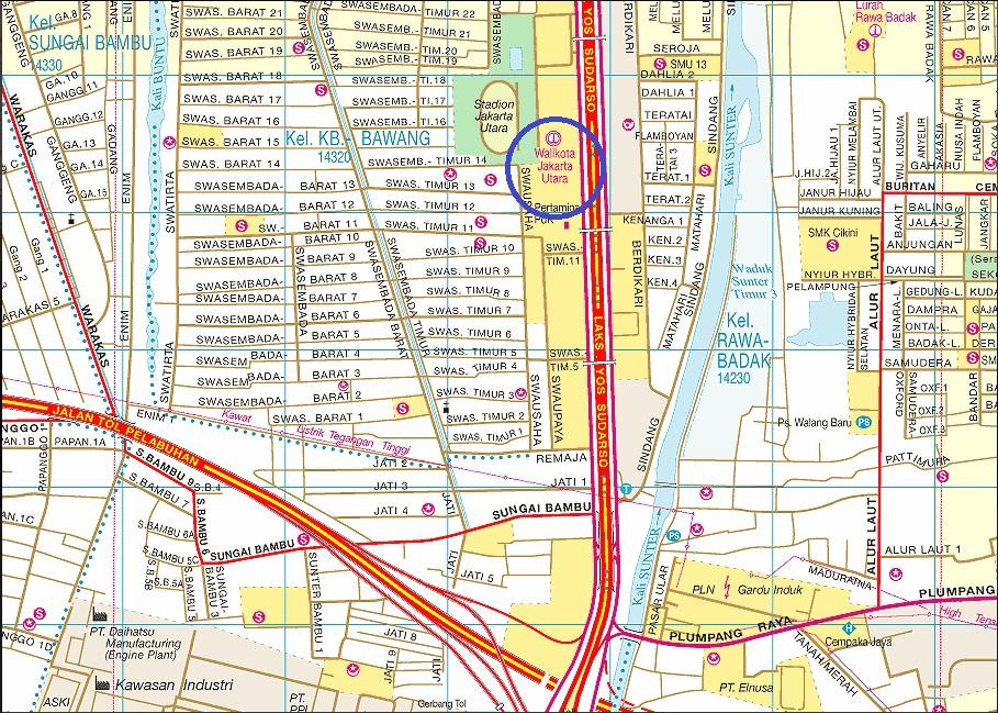 Peta Lokasi kantor Walikota Jakarta Utara