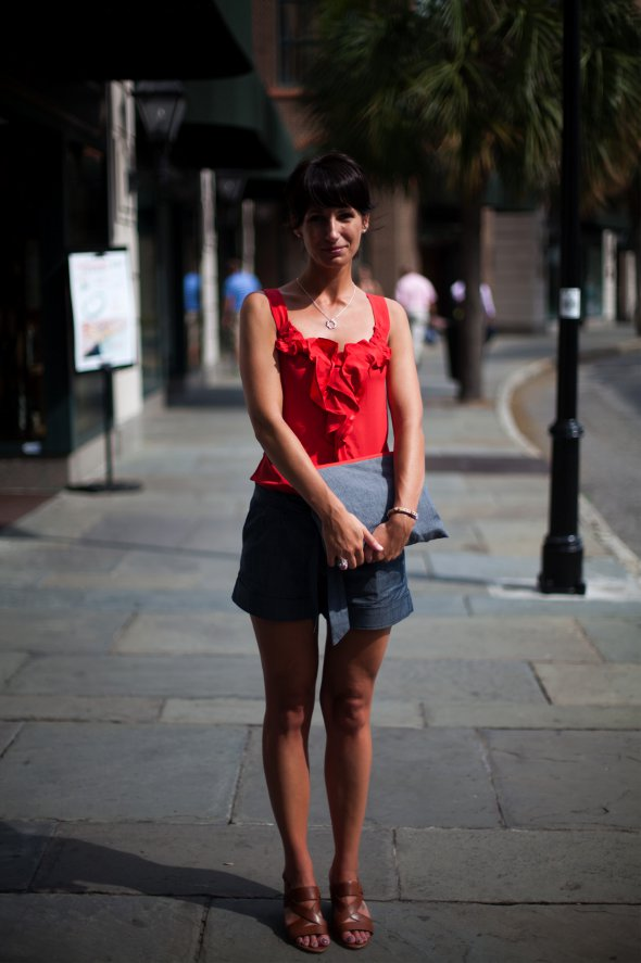 Red ruffle top with gray cuffed shorts, brown sandle heals, King street fashion, Charleston Street Style