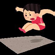 走り幅跳びのイラスト(女子陸上)