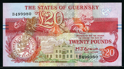 British notes money Guernsey &#163;20 pound notes currency images