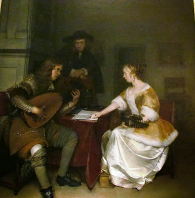 Waddesdon Manor, Rothschild, Baron Ferdinand de Rothschild, National Trust, UK, England, visit, property, tourist, interior, inside, old, vintage,Tête-á-Tête, A Lady Playing the Lute and a Cavalier, Dutch Masters, art, painting, Gabriel Metsu,