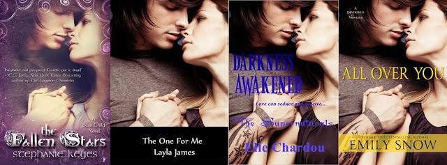 The Fallen Stars de Stephanie Keyes, The One for Me de Layla James, Darkness Awakened de Elle Chardou și All Over You de Emily Snow