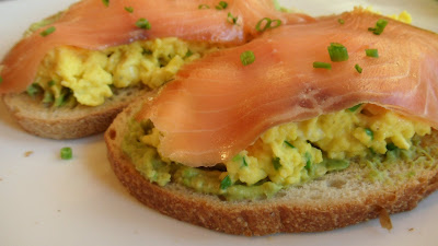 ... eggs that have been mixed with a chives and a little creme fraiche