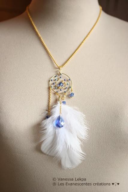 attrape reves protection cauchemars bijoux porter sur soi pierre bleu cristal bleu azur protection mèere