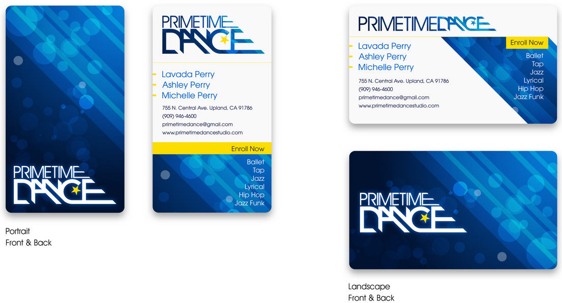 Business Card Layout Design Prime Time Dance