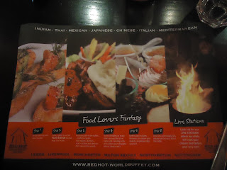 Red Hot World Buffet Instructions on a Table Mat