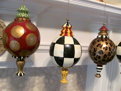 large hand painted ornaments leopard, dots and checks