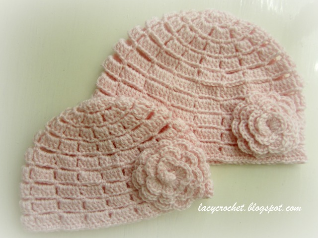 Lacy Crochet Baby Hat Pattern Free : Lacy Crochet: Pink Baby Beanies