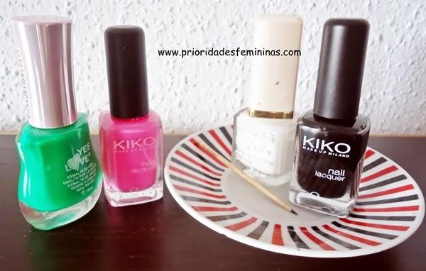esmalte verde, rosa, branco