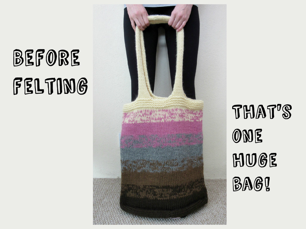 knitted bag before felting