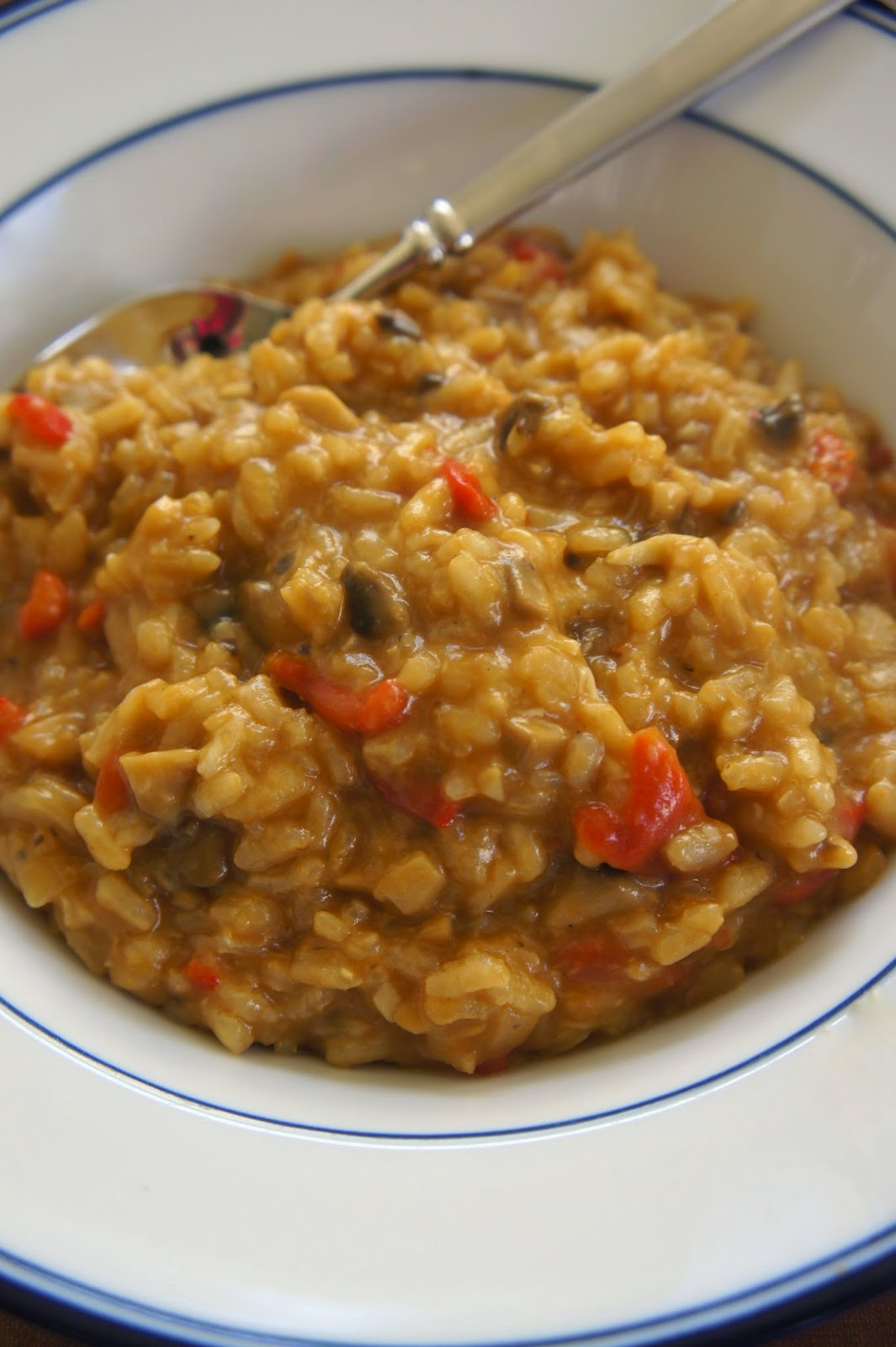 Mushroom and Roasted Red Pepper Risotto: Savory Sweet and Satisfying