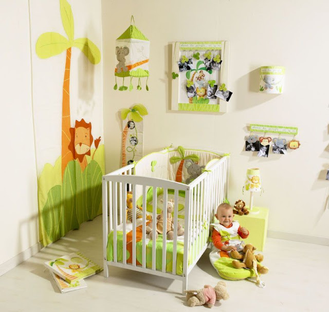 Chambre b b animaux de la jungle for Theme chambre bebe garcon