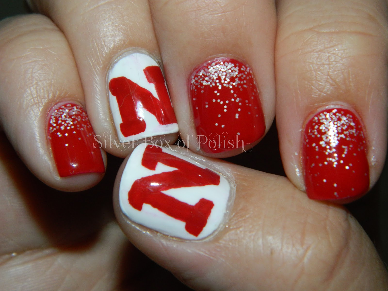I Used Wet N Wild Red A Good Book And Nyc French White Tip For My Base Colors The Glitter Grant Is Done With Loose Nail Art