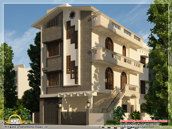3 storey narrow home elevation