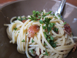 Spaghetti dish cooked with bacon, eggs and Parmesan cheese