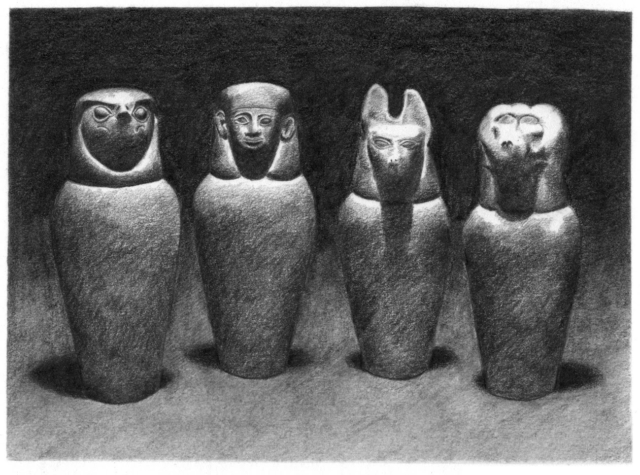 The one below is a pencil drawing of canopic jars Inside Canopic Jars