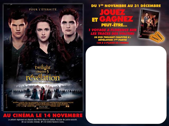 1 week-end à Florence + 150 lots de 2 places pour Twilight Chapitre 5 + 50 DVD Twilight Chapitre 4