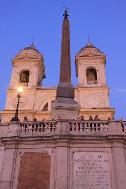 The front view of Trinita dei Monti, French Chruch which is located on top of the hill of Spanish Steps in Rome, Italy