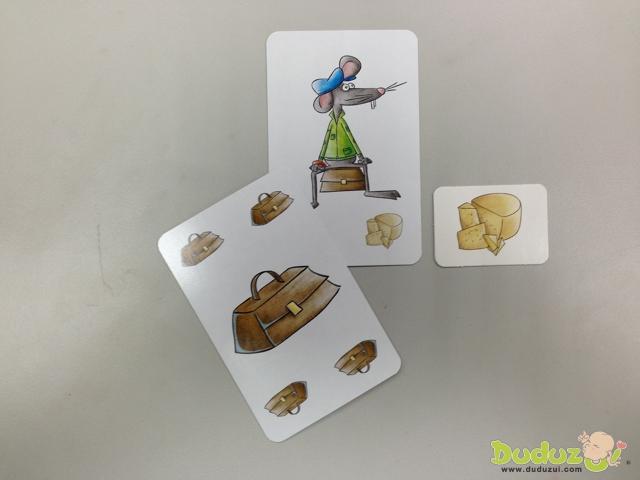 老鼠腳邊的乳酪與當時翻開的乳酪卡一模一樣,則第1位把牌丟出去的玩家必須把乳酪卡拿來放在面前