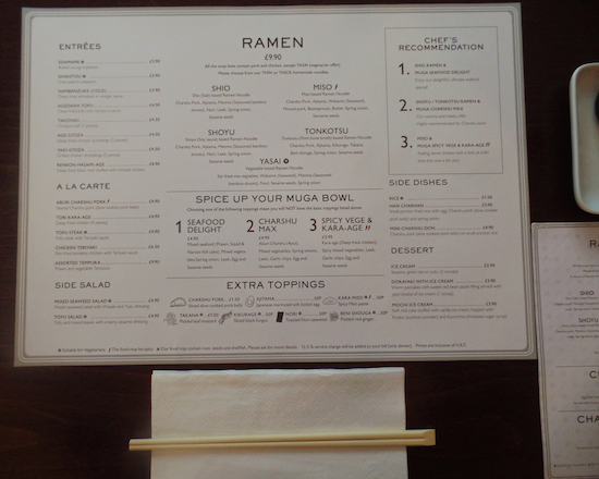 Muga Ramen Bar Menu