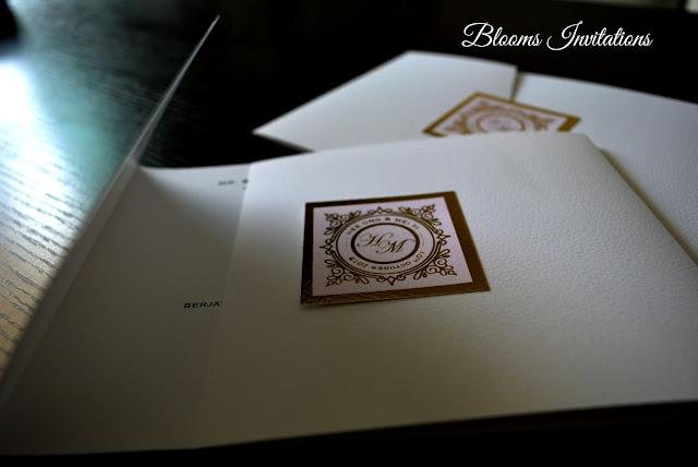 Gold Hot Stamp Elegant white wedding invitation