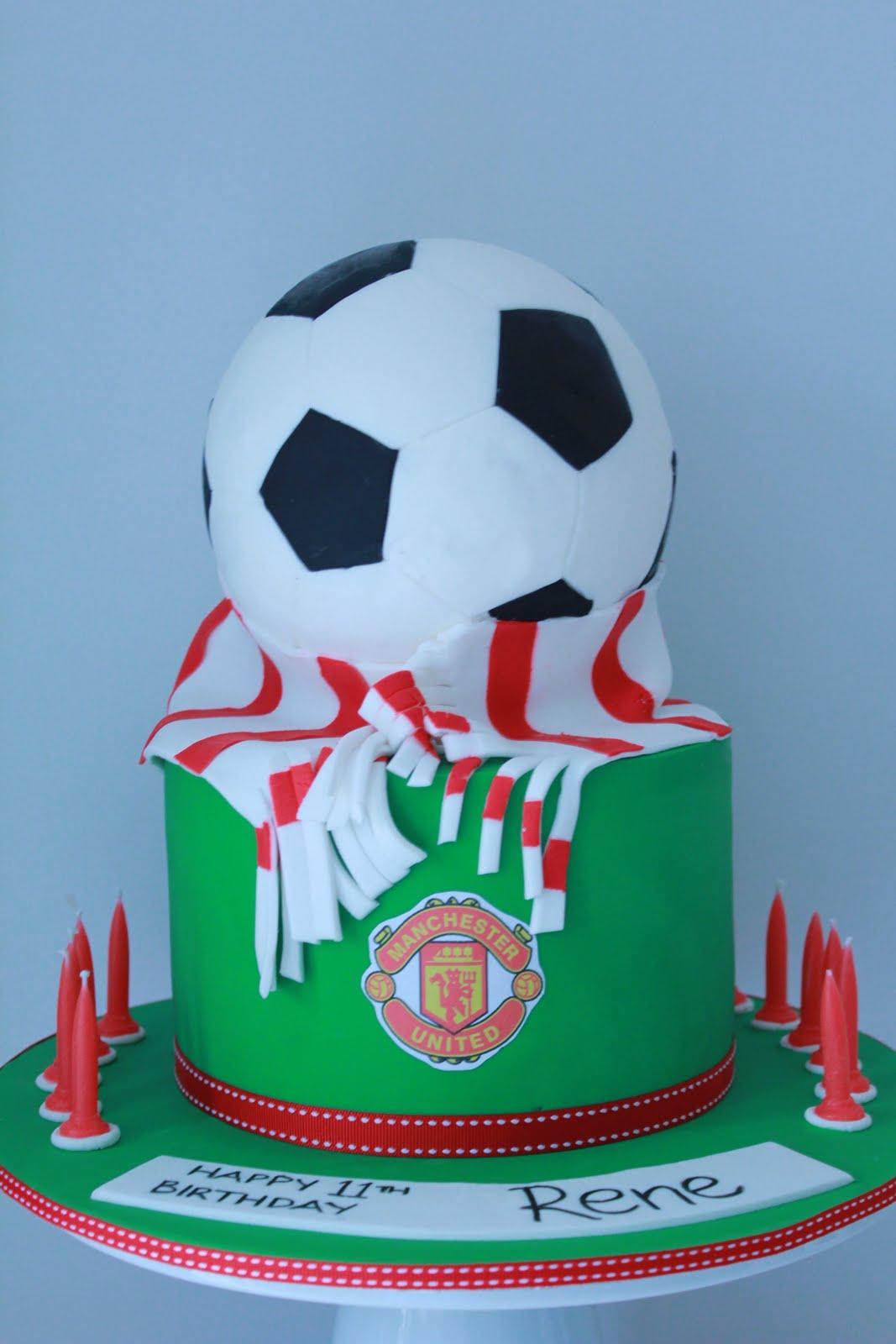 Blissfully Sweet Manchester United Soccer Ball Birthday Cake