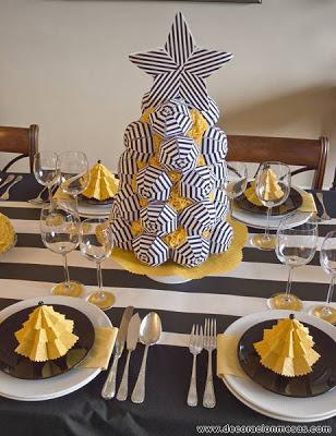 Decoracion de mesas mesa de navidad en amarillo blanco y - Mesas para navidad decoracion ...