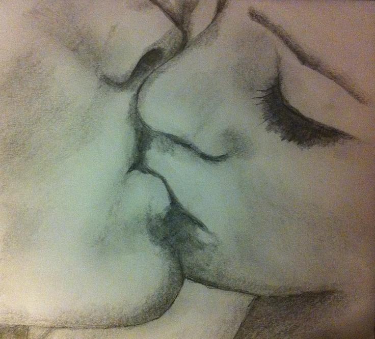 Рисунок карандашом поцелуй только губы