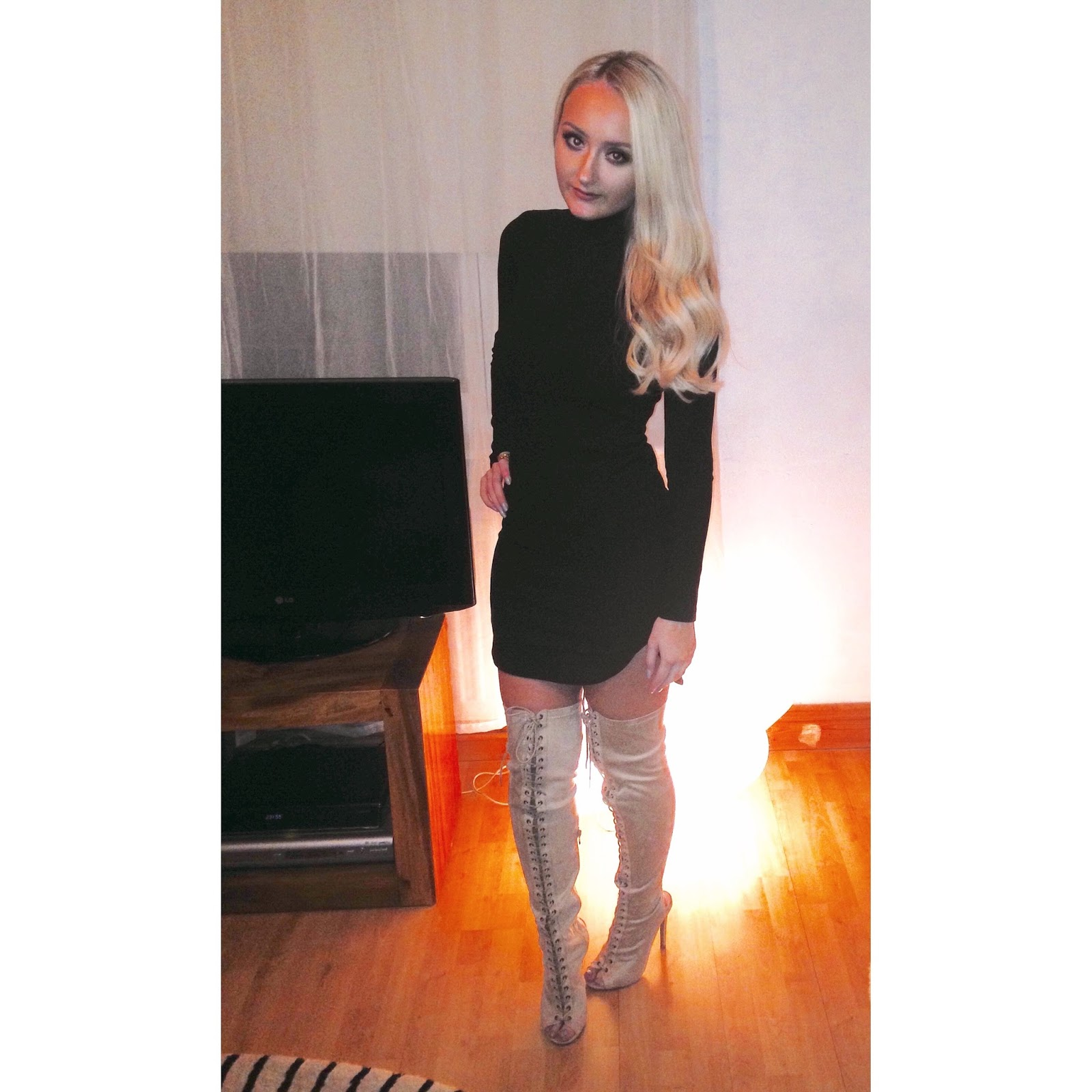 OOTN: Suede Thigh High Boots & Little Black Dress - Fashion On ...